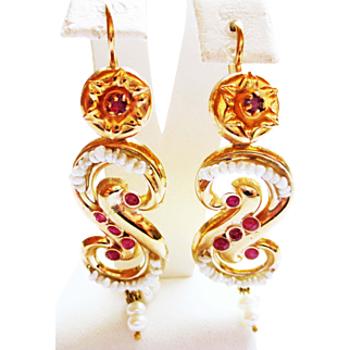 Pearl and Ruby Earrings in 18k Yellow Gold ~ circa 1950's