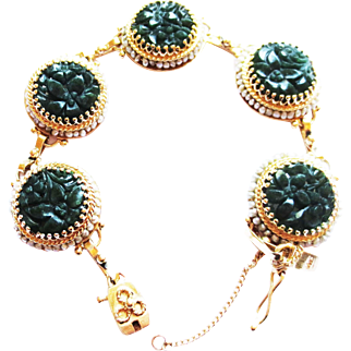 Jade Disc Bracelet in 14k Yellow Gold ~ circa 1950's