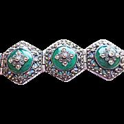 Jade and Marcasite Silver Bracelet ~ circa 1950's