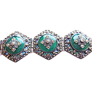 Jade and Marcasite Silver Bracelet ~ circa 1950's