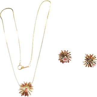 Starburst Diamond Necklace & Earring Set ~ circa early 1980;s