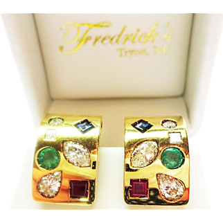 Multi-Gem and Diamond Ring and Earring Set in 18k Yellow Gold ~ 1970's