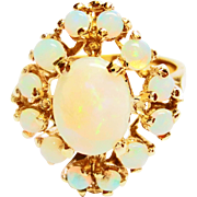Ladies Opal Dinner Ring in 14k Yellow Gold ~ circa 1970's