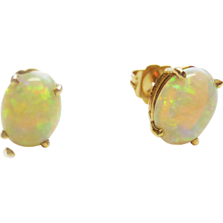 Opal Stud Earrings ~ circa 1970's