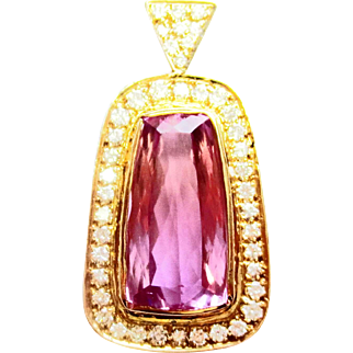 Natural kunzite & Diamond Pendant ~ circa 1970's