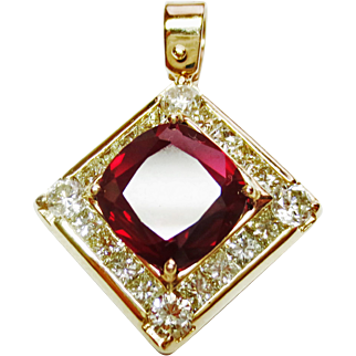 Almondine Garnet & Diamond Pendant in 14k YG ~ circa  late 1980's