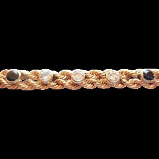 Diamond & Sapphire Bracelet  in 14k YG ~ circa late 1980's