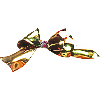 Tri-Tone Gold Bow Pin ~ circa 1930's