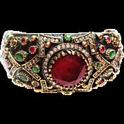 Bejewelled Bangle Bracelet in Sterling and 14k YG ~  circa 1950's