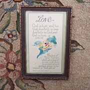 Small Framed Vintage Motto Poem w/ Watercolor Pansy Flower