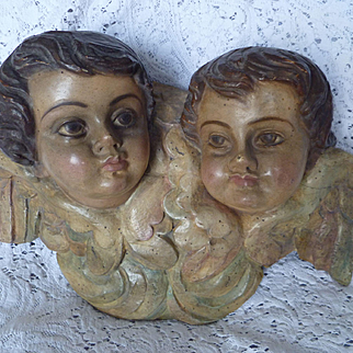 Antique German CHERUB Twins ~ Hand Carved, Painted, large size wall decoration