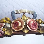 Large Vintage Barbola Framed Wall Mirror ~ Gesso Roses/Ribbon