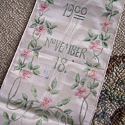 1900 Silk Ribbon Bible Bookmark ~ Hand Painted Pink Roses
