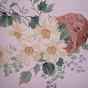 Vintage Roll FLORAL Wallpaper ~ flower basket pattern