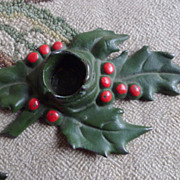 Pair of 1920's Vintage Cast Iron Holly Berry Candle Holders