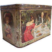 1890's era Old Tea Tin with Color Scenes ~ Large 3 lbs size MAZAWATTEE TEA ~ Ladies, Child