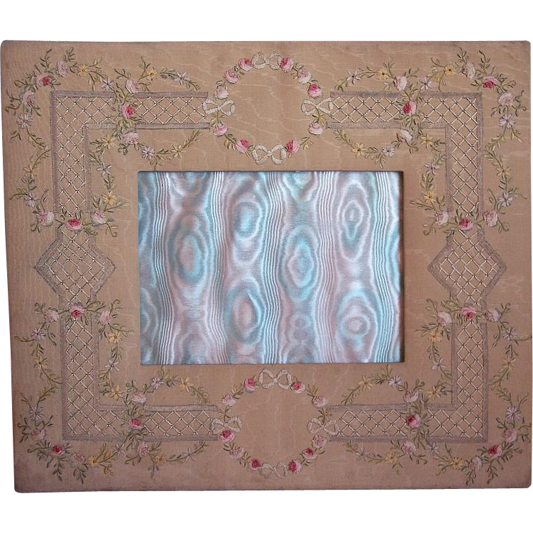 Rare antique french silk embroidered picture frame