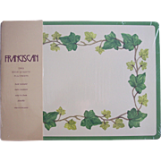 Vintage Franciscan IVY Placemats ~ 2 Cork back Place Mats, Unused