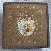 1900 French Silk Ribbon Embroidery Box ~ Vanity, Boudoir, Sewing