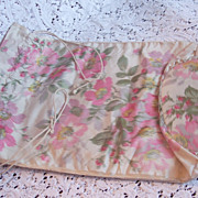 1910 era ROSE Watered Silk Drawstring Slipper/Shoe Bag Purse