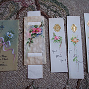 LOT 5 Vintage Hand Painted Religious Bookmarks ~ Roses