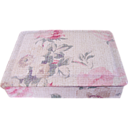 Vintage French Cretonne Rose Fabric Covered Sewing/Trinket/Jewelry Vanity Dresser Box, early 1900's