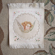 Early 1900's Hand Painted ANGEL Silk Ribbon Sachet