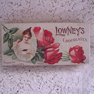 "1901 Lowney's Chocolates Advertising Box, ""American Beauties"", antique candy box, Roses"