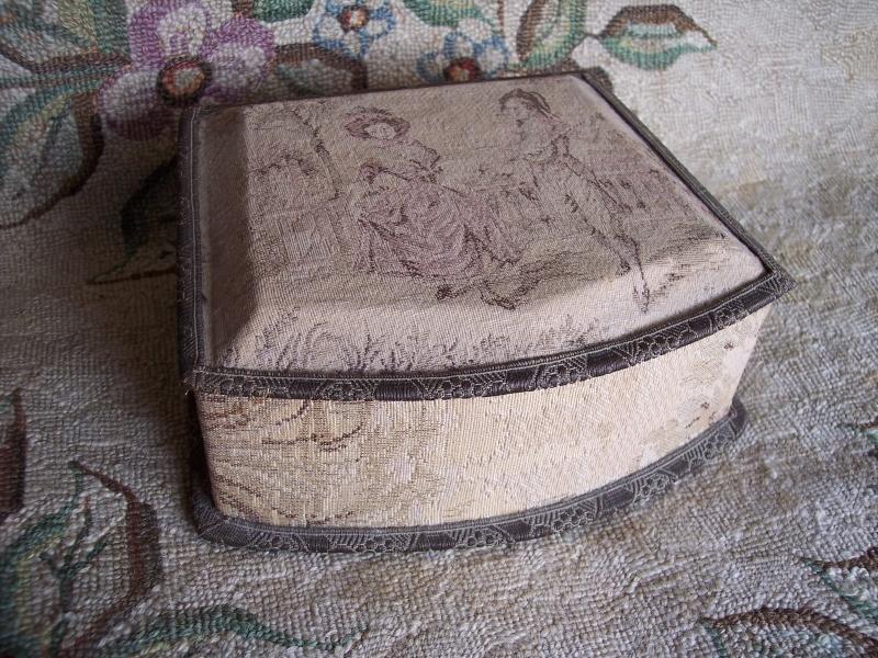 Vintage French Tapestry Boudoir Vanity Box ~ Metallic Trim