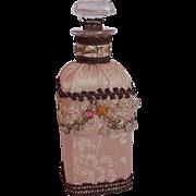 Rare Large Vintage 1920's French Textile Perfume Bottle ~ Silk Damask, Lace, Ribbon Rose trim, Metallic Lace