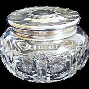 Early 1900's Vintage Tiffany Cut Glass & Sterling Silver Lid Powder Jar ~ ST monogram