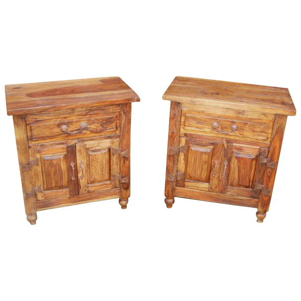 Pair of Teak Double Door Side Tables