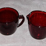 Royal Ruby Sugar Bowl and Creamer
