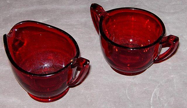 Royal Ruby Sugar Bowl and Creamer