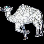 Silver Tone Pave Set Rhinestone Camel Brooch