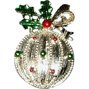 Signed Christmas Ball with Holly Brooch