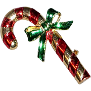Signed Vintage Christmas Candy Cane Brooch