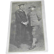 Two Military Soldiers Shaking Hands Ca. WWI Postcard