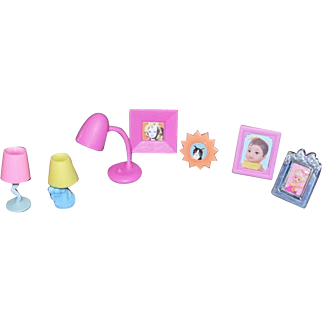 Seven Piece Assorted Barbie Doll Size Lamps and Picture Frames
