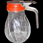 Vintage Glass Syrup Dispenser/Milk Pitcher w/Red Plastic Top, Metal Handle