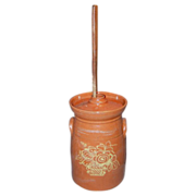 French Red Ware Butter Churn w/Yellow Slip Design