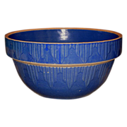 Dark Blue Yellow Ware Bowl w/Picket Fence Design