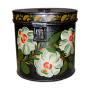 American Tole Painted Canister Signed Gina Martin