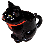1950s Red Ware Black Kitty Creamer/Pitcher