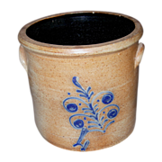 19th Century Stoneware Crock with Two-Tone Cobalt Fern Design