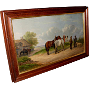'Horses on a Lane' Oil Painting by Listed Artist Josef Herrmanstorfer.Munchen