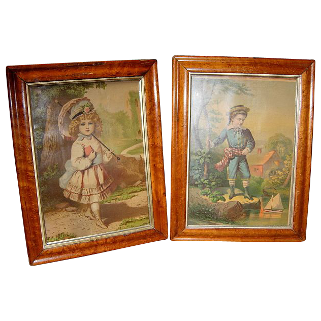 Pair Birdseye Maple Framed Chromo-Lithographs of Children