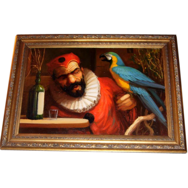 American Artist Richard Lithgow Signed Original Oil—Man with Parrot, Oil on Board
