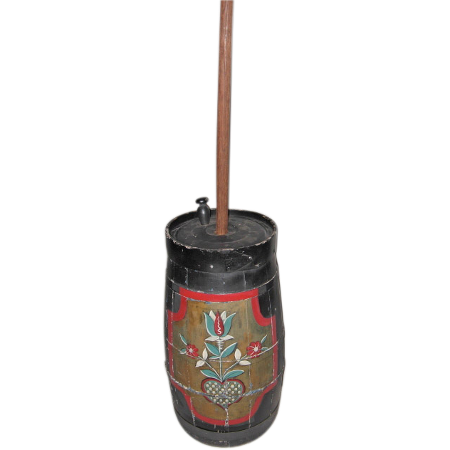 Floor Standing Hand Painted Antique Butter Churn w/Dasher