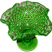 Green Hobnail Uranium Glass Compote